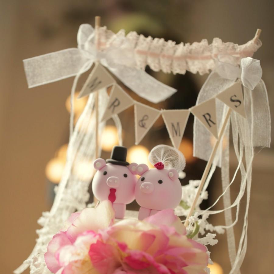Свадьба - pig and piggy Wedding Cake Topper---k711