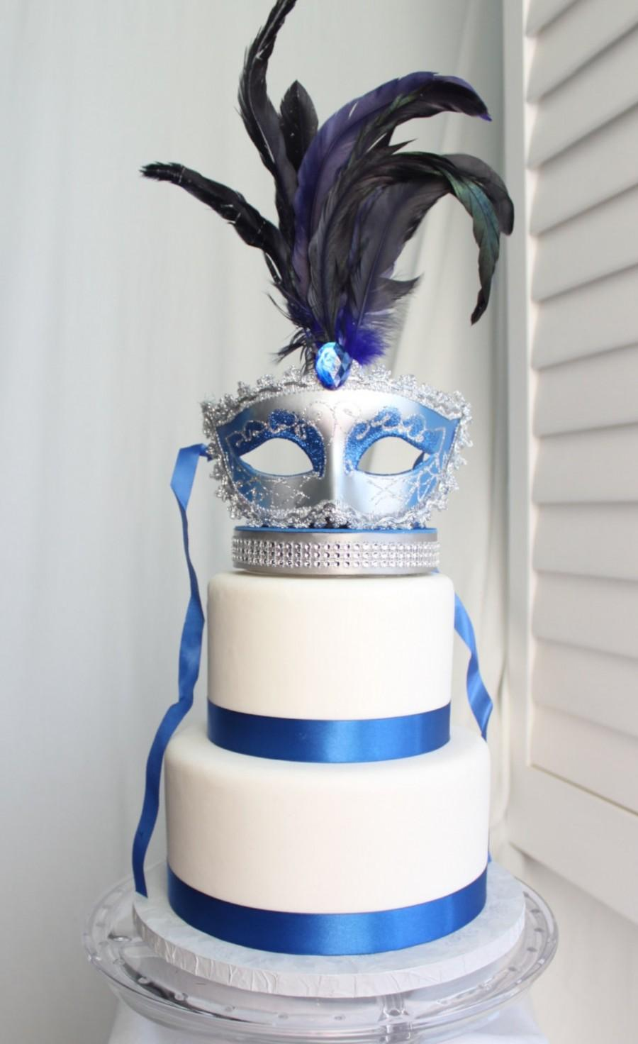 Свадьба - Masquerade, Venetian, Mask Cake Topper Royal Blue and Silver, Carnival