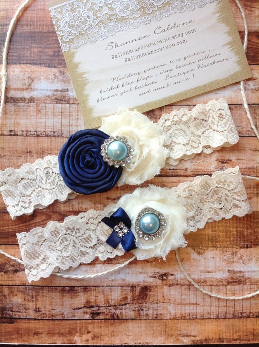 Hochzeit - Wedding garter SET / Navy / blue stone / You pick / wedding garters/ bridal  garter/  lace garter / toss garter / vintage