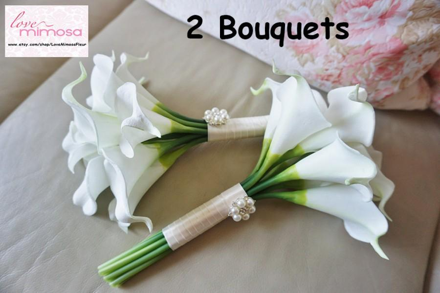 Свадьба - TWO Small Ivory Calla Lily Bridesmaid bouquet, Flower Girl Bouquet, Toss Bouquet