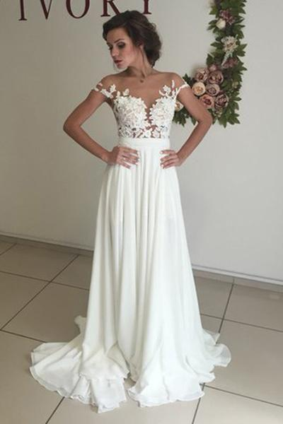 Hochzeit - V-neck Cap Sleeves Sweep Train White Wedding Dress With Appliques WD002