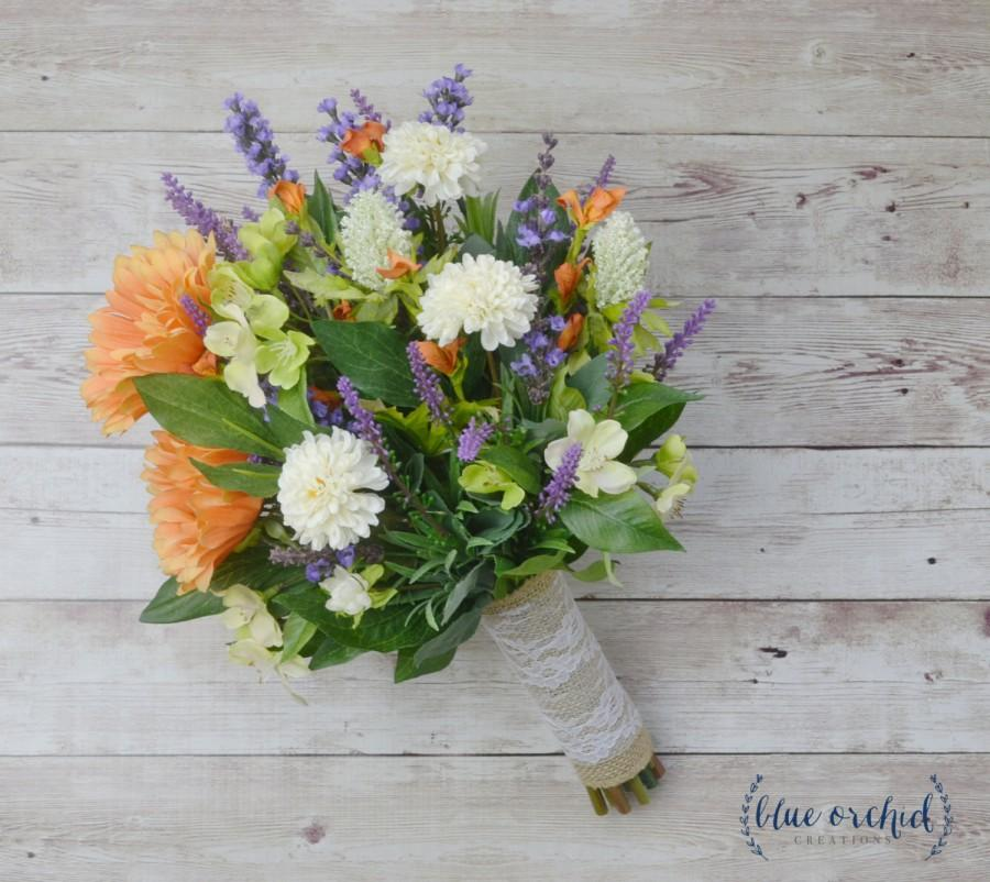 Mariage - Wildflower Bouquet, Wedding Bouquet - Fall Wedding Bouquet, Fall Bouquet, Bridal Bouquet, Silk Bouquet, Lavender Bouquet, Silk Flowers, Fall