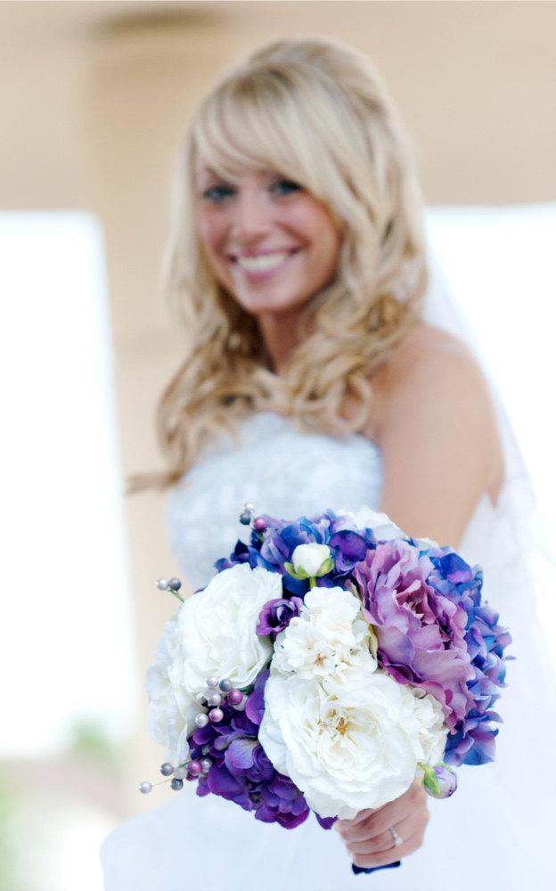 Mariage - Purple Bouquet - Wedding Bouquet, Hydrangea, Peonies, Garden Roses