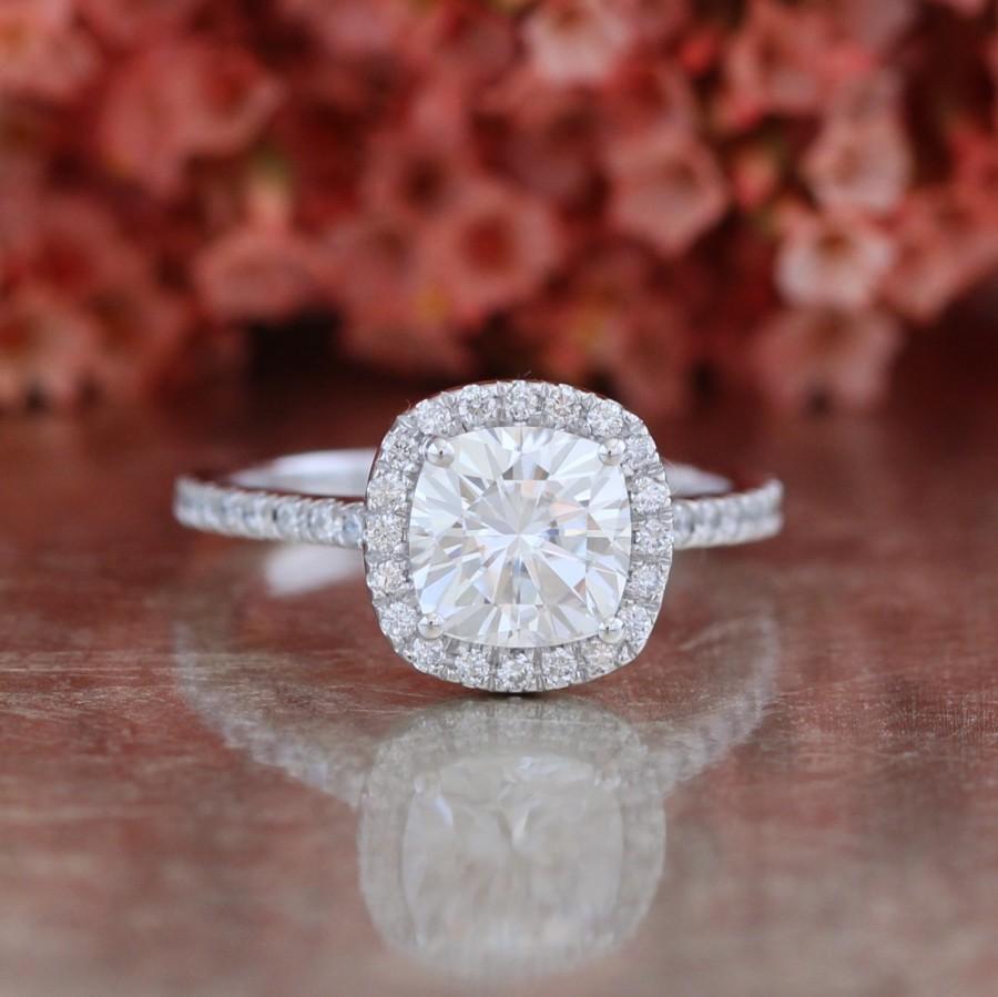 Свадьба - Forever One Moissanite Engagement Ring Halo Diamond Ring 7x7mm Cushion Cut Moissanite Gemstone Wedding Ring in 14k White Gold