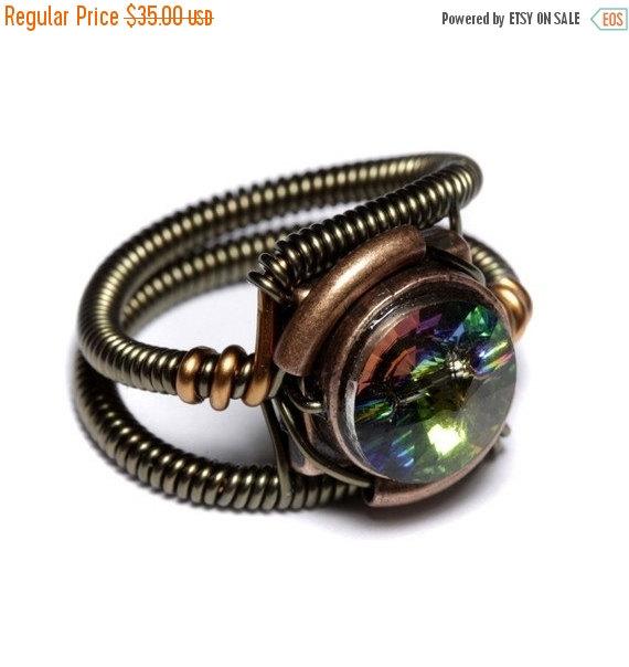 Свадьба - SALE 25% OFF - Steampunk Jewelry - Ring - Vitrail Swarovski Crystal