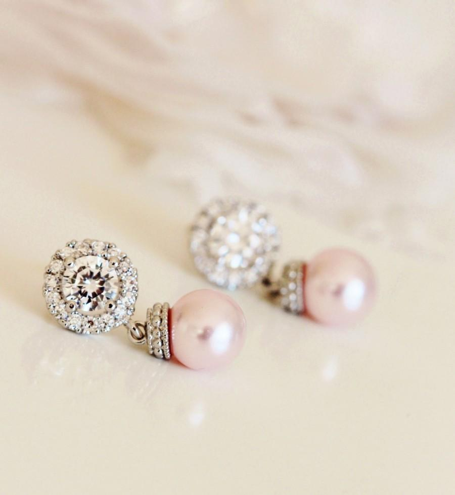 Свадьба - Blush Pink Earrings Blush wedding Jewelry Blush Bridesmaid Gift Bridesmaid Earrings Pink Pearl Earrings Bridal Earrings Bridesmaid Jewelry