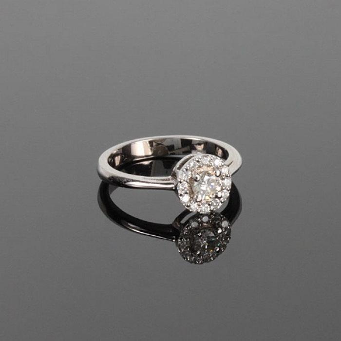 Mariage - Halo engagement ring, White gold ring, Fine engagement ring, Fine gold ring, Elegant gold ring, Simple gold ring, White halo ring