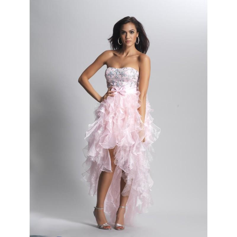 زفاف - 2014 Special Strapless Pink Organza A-line Arrival High-low Prom/cocktail/homecoming Dress Dave And Johnny 8844 - Cheap Discount Evening Gowns