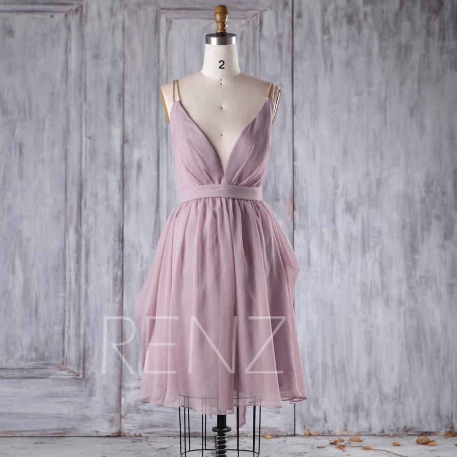 Wedding - 2016 Lavender Chiffon Bridesmaid Dress, Deep V Neck Wedding Dress, Spaghetti Straps Prom Dress, A Line Cocktail Dress Knee Length (H276B)