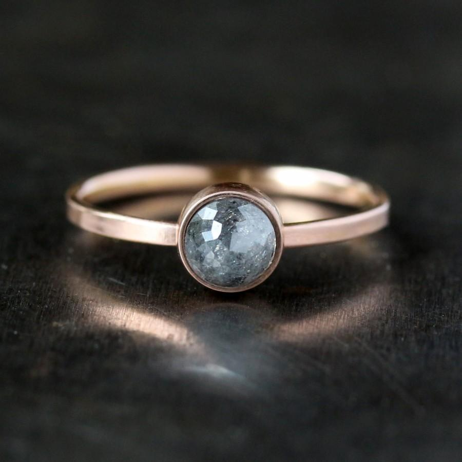 Mariage - Rose Cut Diamond Ring, Unique Engagement Ring, Natural Color Gray Diamond, 14k Rose Gold Engagement Band, Ecofriendly Jewelry Conflict Free