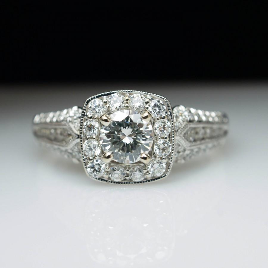 Intricate Vintage Style Diamond Engagement Ring 14k White Gold Ornate Halo  Milgrain Edge