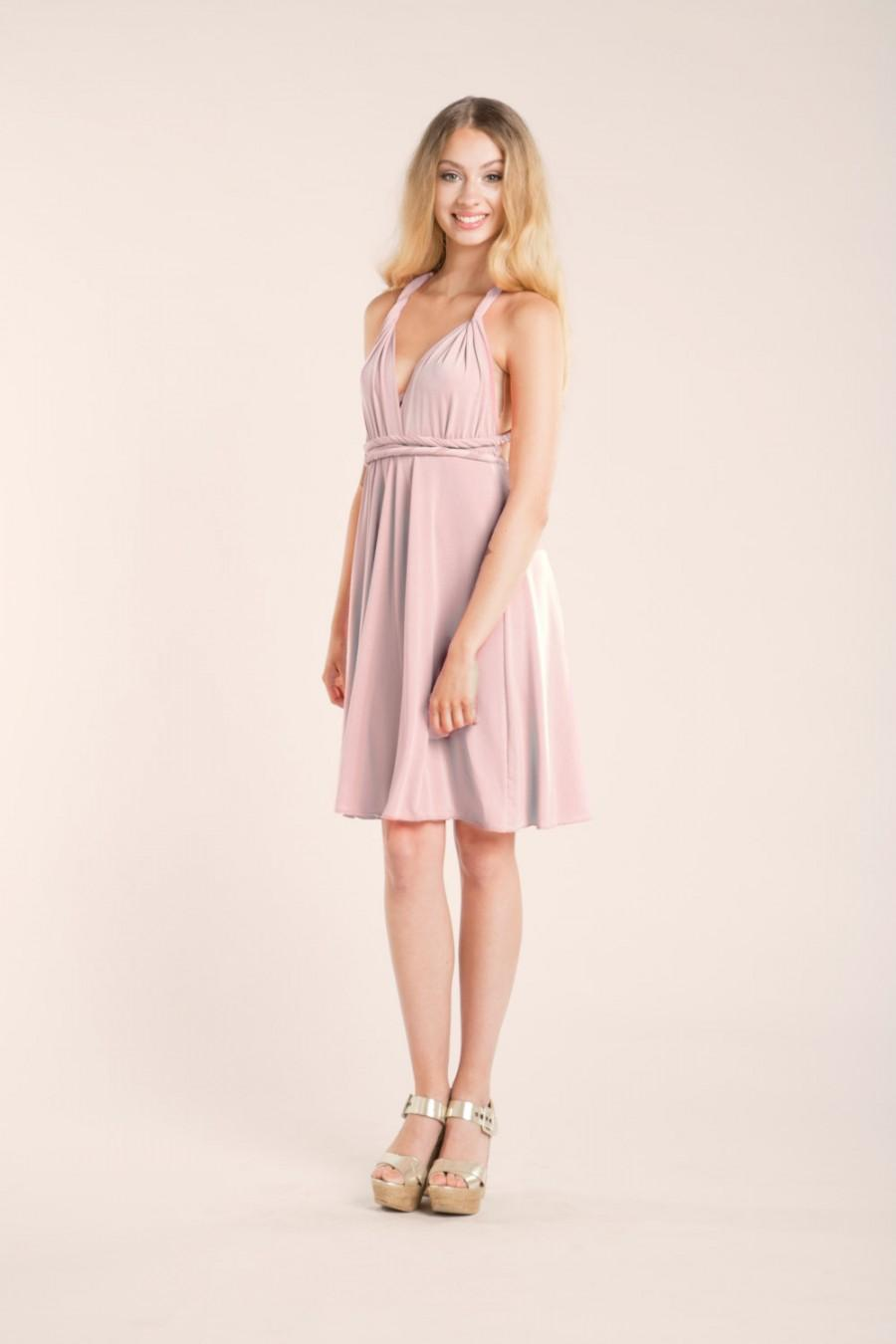 Short Rose Quartz Bridesmaid Dress Short Pink Dress Light Pink ...
