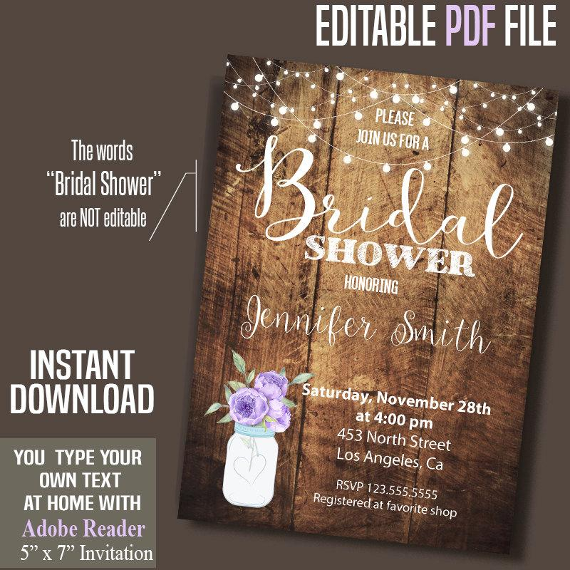 Mariage - Bridal Shower Invitation, purple flowers mason jar, rustic wood invite, Instant Download, Printable Editable Digital PDF file A063