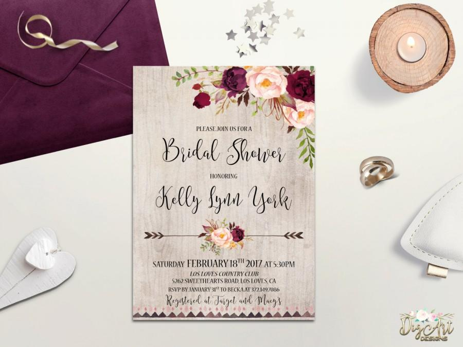 Wedding - Rustic Bridal Shower Invitation Printable Boho Bridal Shower Invite Burgundy Blush Bridal Shower Winter Floral Bridal Shower Bohemian Bride