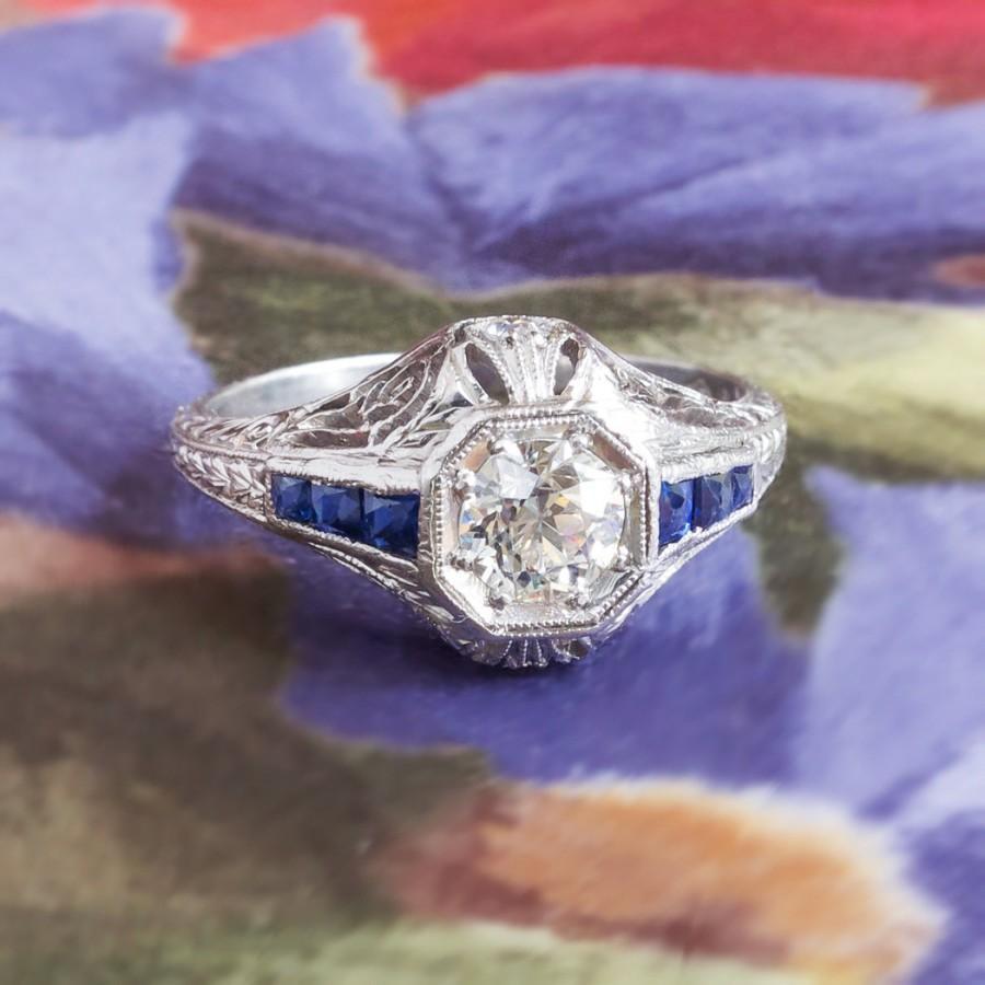 Mariage - Vintage Art Deco 1930's Old European Cut Diamond & Sapphire Engagement Wedding Anniversary Ring Platinum