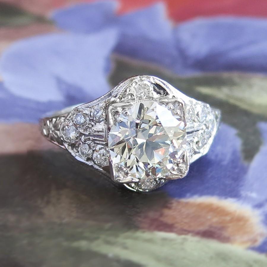 Mariage - Vintage Art Deco 1930's Old European Cut Diamond Engagement Anniversary Wedding Ring Platinum