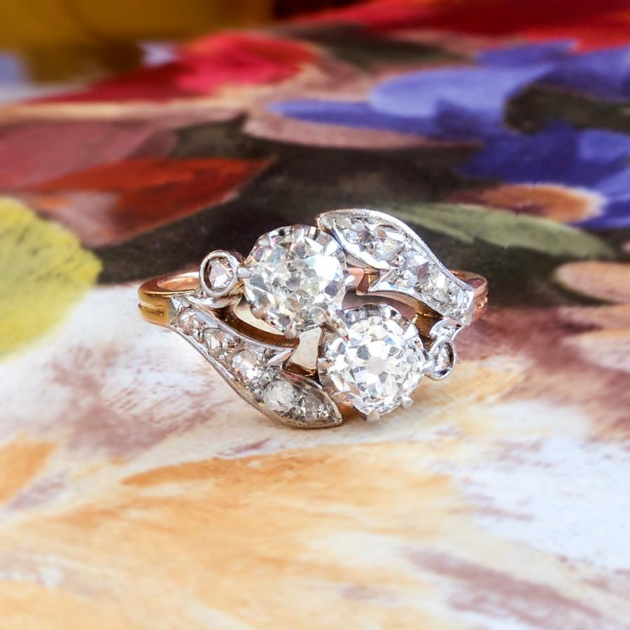 Mariage - Antique 1890's Victorian Old Mine Cut Bypass Toi Et Moi Engagement Ring Anniversary 18k Rose Gold Platinum
