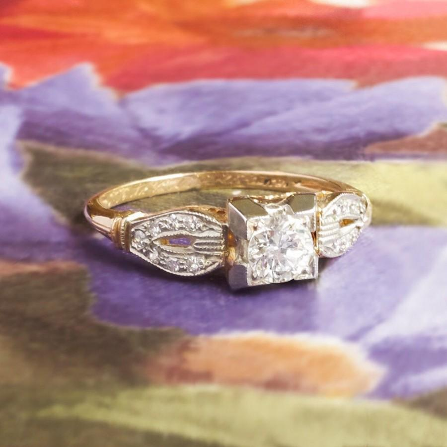 Mariage - Art Deco Vintage 1930's Old European Cut Diamond Engagement Wedding Anniversary Two Tone 14k Gold