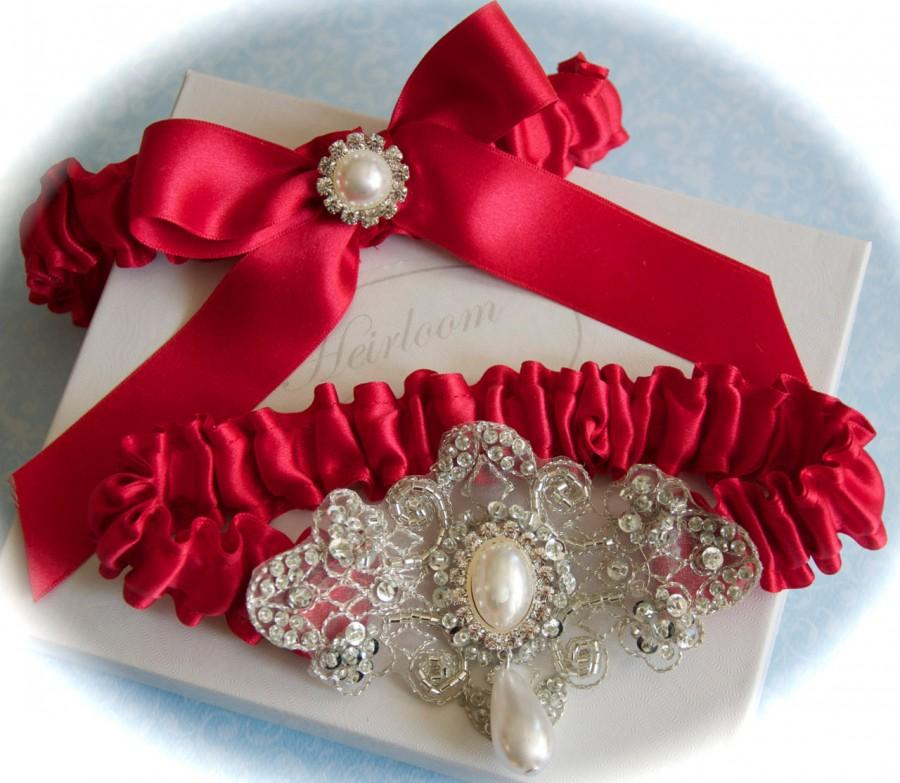 Mariage - Red Wedding Garter Set, Red Garters, Red Bride Garters, Garters