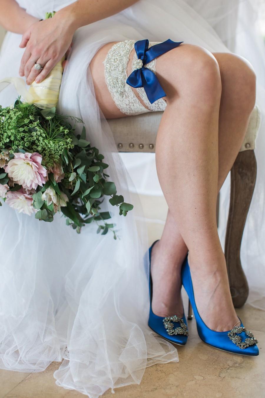 Wedding - Audrey Rhinestone Wedding Garter, Bridal Garter, Ivory Lace Wedding Garter, Navy Garter, Something Blue, Toss Garter, Garter Set