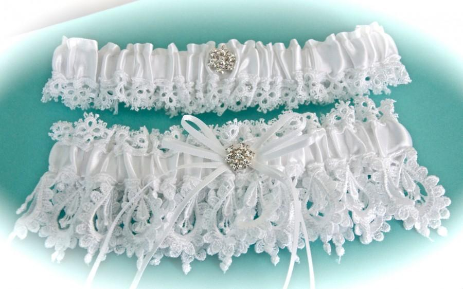 Wedding - The Most Beautiful White Venice Lace Bride Garter Set