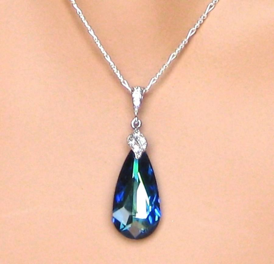 Mariage - Bridal Necklace. Bermuda Blue Pendant. Bridal Jewelry. Wedding Jewelry. Bridesmaids Jewelry. Wedding Necklace