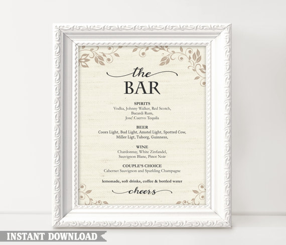 bar sign bar menu sign printable bar sign wedding bar sign