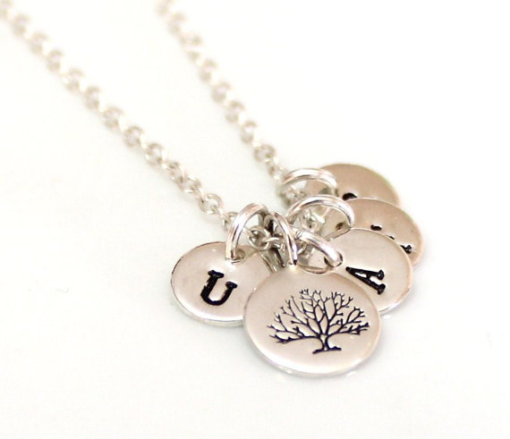 زفاف - Tree of Life Initial Sterling Silver, Family Tree Necklace, Personalized Wife Jewelry Gift, Tree of Life Necklace, Mom Grandma