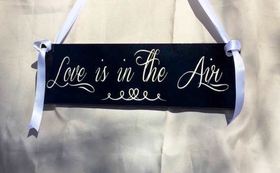 Wedding - Love is in the Air Ring Bearer Flower Girl Sign Painted Solid Wood Wedding Sign Choice of Color Schemes