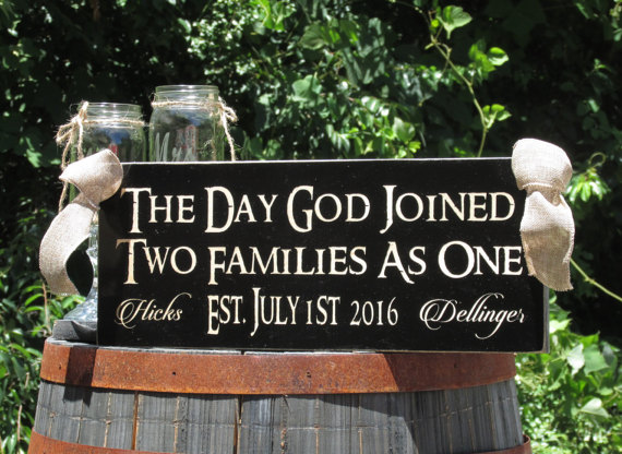Свадьба - The Day God Joined Two Families as One Blended Established Personalized with Last Names & Wedding Date / Wood Rustic Sign /