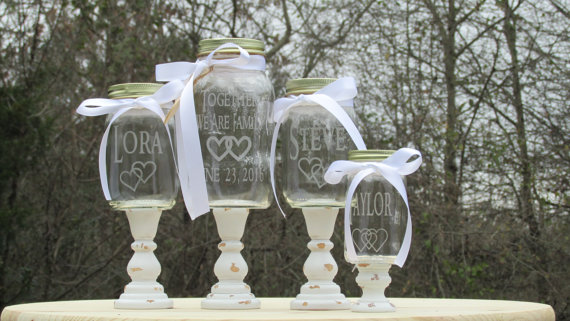 Wedding - Shabby Chic Mason Jar 4 Piece Blended Family of 3 Unity Sand Set / Personalized Toasting Glasses Linked Hearts Wood Stands Choice of Fonts