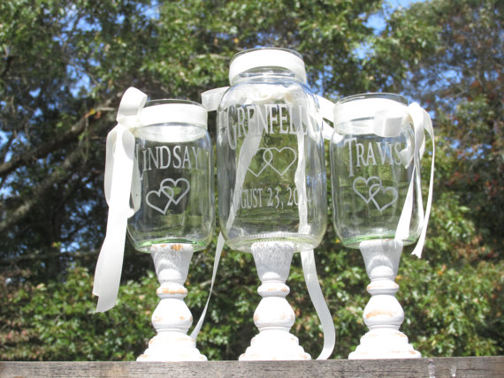 Hochzeit - Farmhouse Distressed Unity Sand Set Mason Jars Shabby Chic Personalized Toasting Glasses Linked Hearts Country Barn Wedding Wood Stands