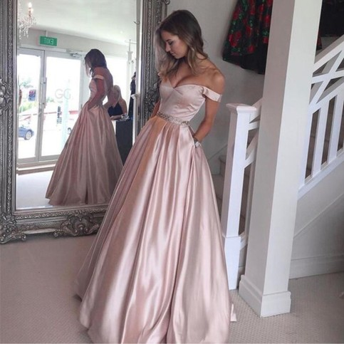 Wedding - Pearl Pink Pockets Prom Dress - Off Shoulder Floor Length with Beading from Dressywomen
