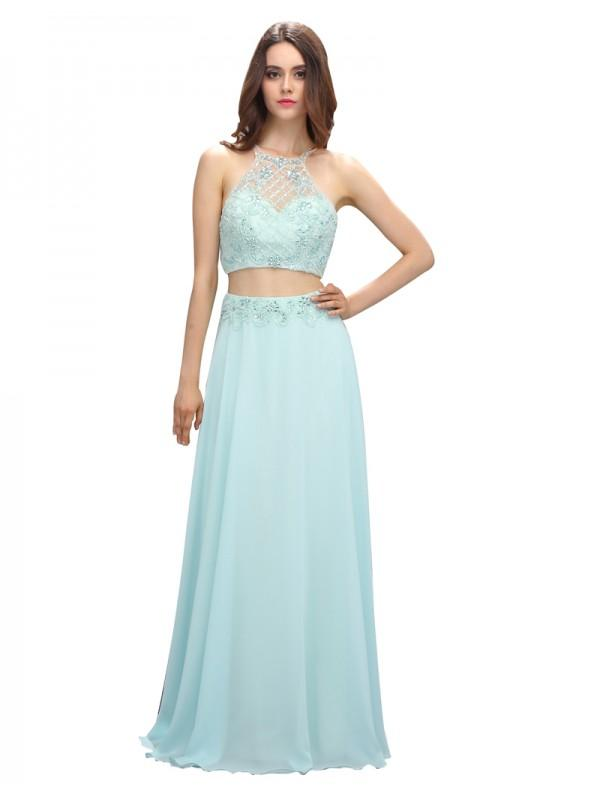 Mariage - Chic Two Piece Crew Neck Floor Length Beading Chiffon Prom Dress
