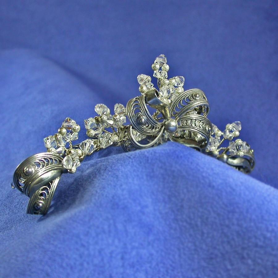 Mariage - Silver Crystal Tiara, Upcycled Vintage Jewelry Tiara, Danecraft Sterling Bridal Tiara Comb, Vintage Style Tiara, Downton Abbey Wedding