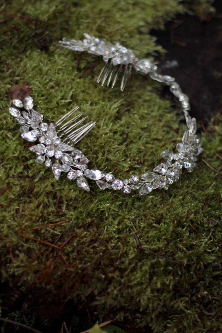 Свадьба - Wedding Headdress Bridal Hair Piece Bridal Crystal Hair Adornment Large Decorative Hair Comb Wedding Hair Comb Wedding Head Piece Headpiece