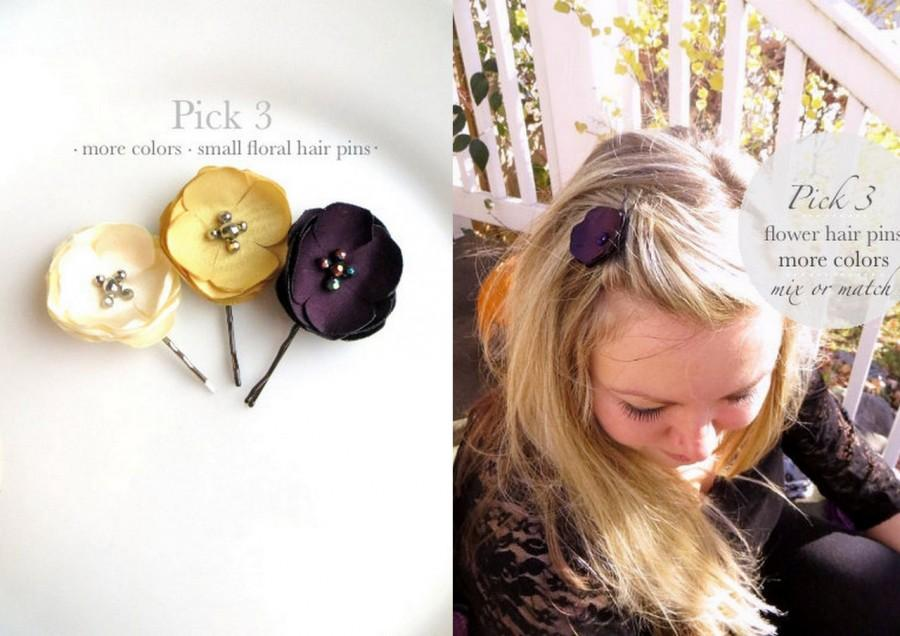 Pick 3 bridal hair flower hair pins for wedding small silk flower pick 3 bridal hair flower hair pins for wedding small silk flower hair clips simple bridesmaid floral hairpins fabric flowers for hair mightylinksfo
