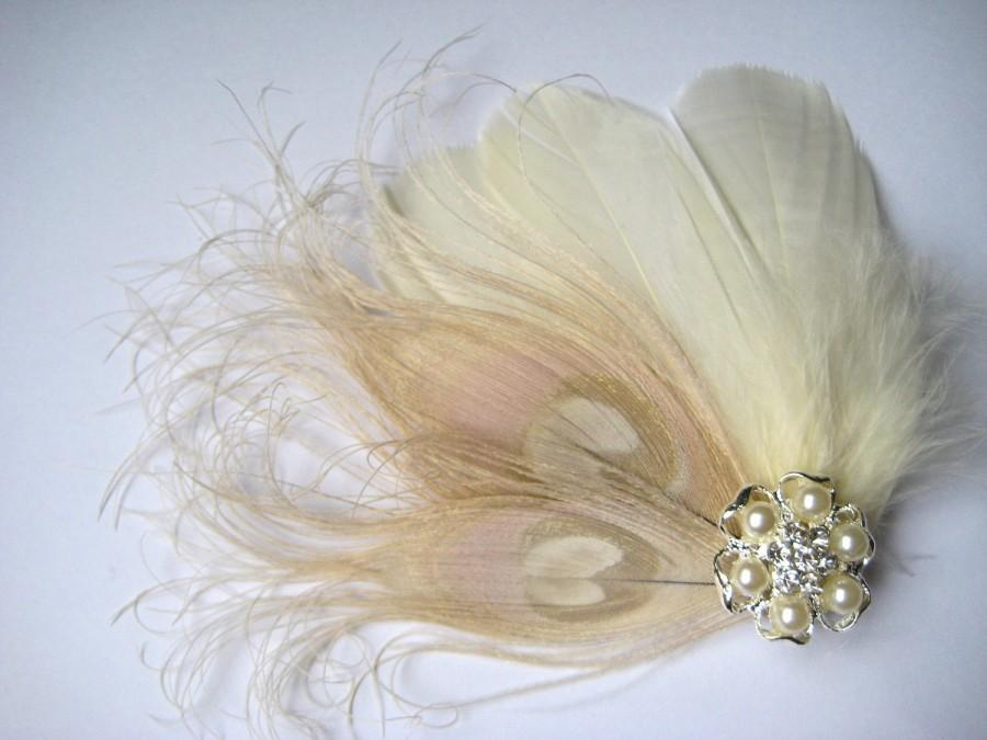 Hochzeit - Wedding Bridal Ivory Champagne Peacock Feather Pearl Rhinestone Jewel Head Piece Hair Clip Fascinator Accessory