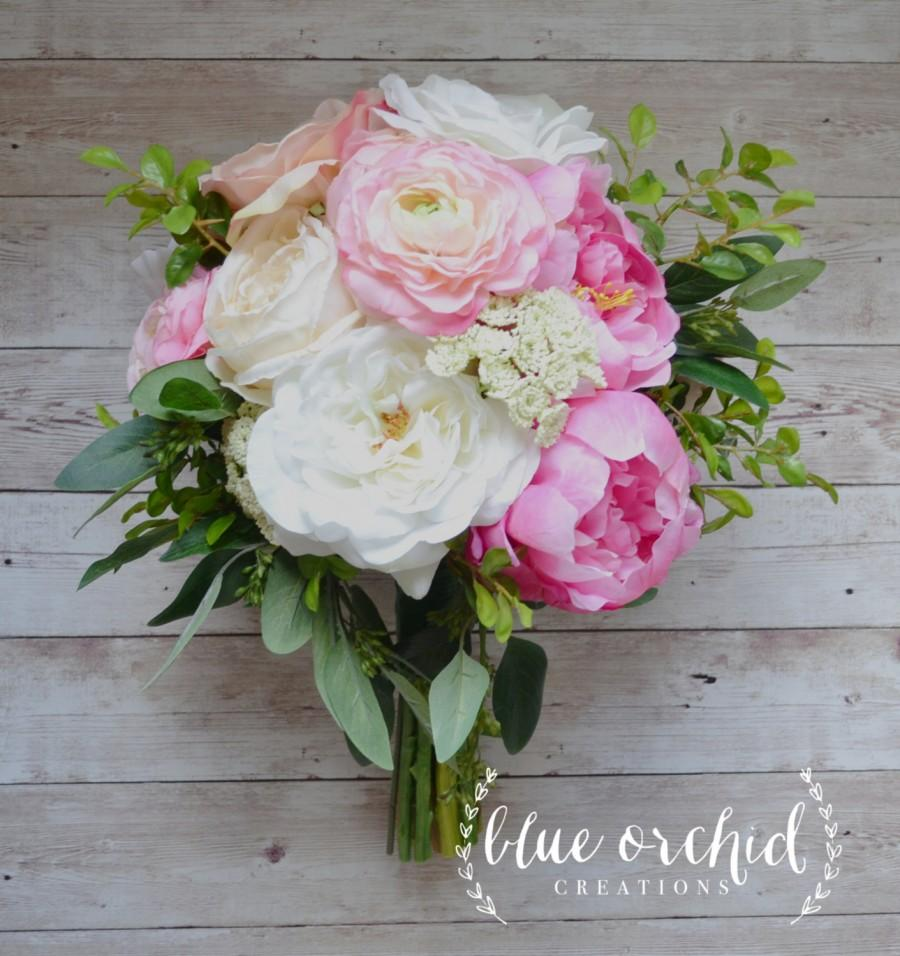 Свадьба - Silk Wedding Bouquet with Pink and Cream Peonies, Ranunculus, Cabbage Roses, Garden Roses and Greenery, Bridal Bouquet
