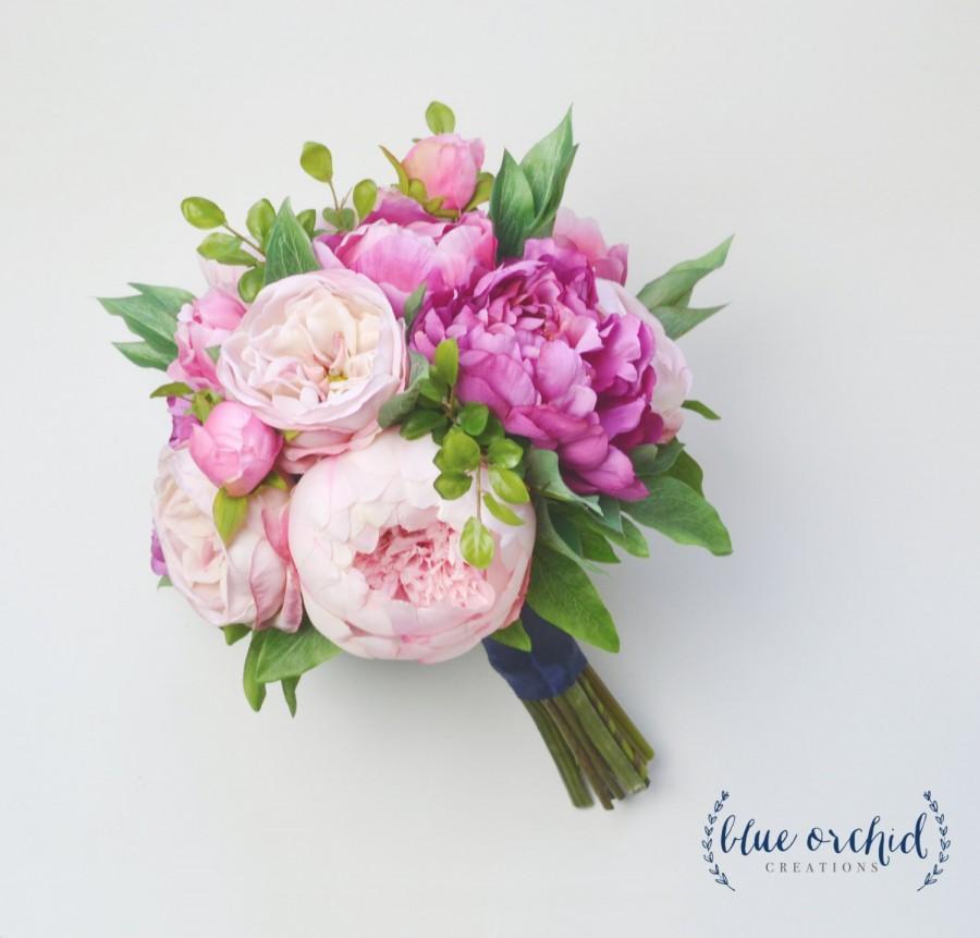 Свадьба - Silk Flower Bouquet - Wedding Bouquet, Peony Bouquet, Pink Peony Bouquet, Silk Peony Bouquet, Bright Pink, Blush, Cabbage Rose, Silk Flowers