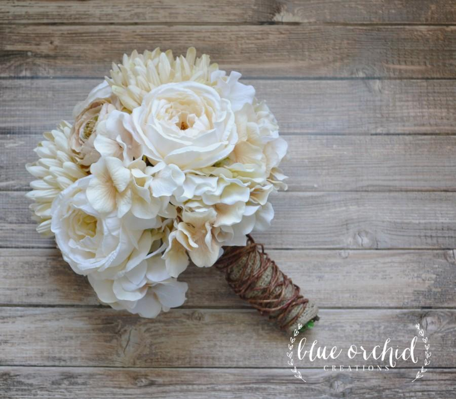 Mariage - Cream and Beige Country Shabby Chic Wedding Bouquet Wrapped in Grapevine and Burlap