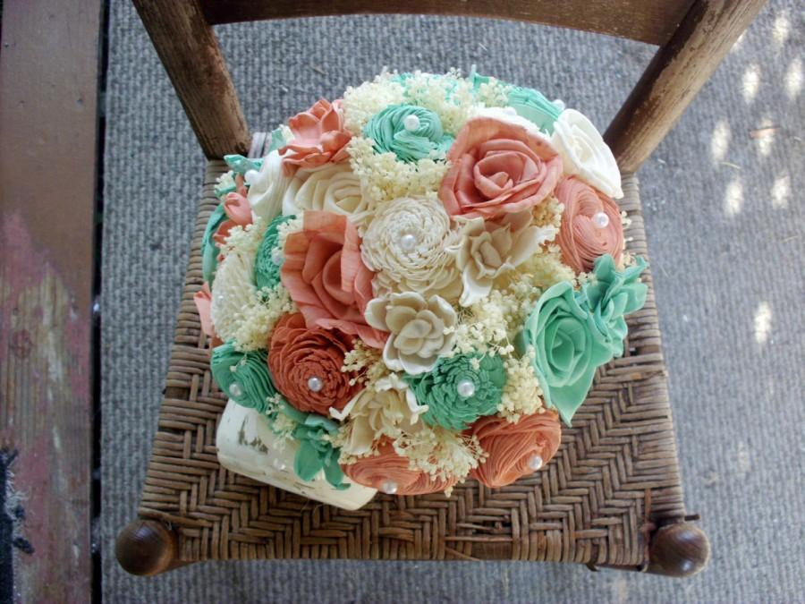 Mariage - Mint blue and coral bouquet