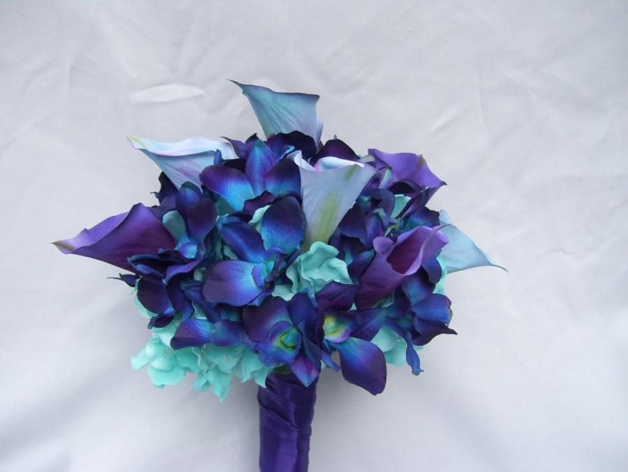 Mariage - Nicole's Silk Bridal Bouquet with Turquoise Hydrangeas, Blue Orchids, Calla Lilies Galaxy,Singapore