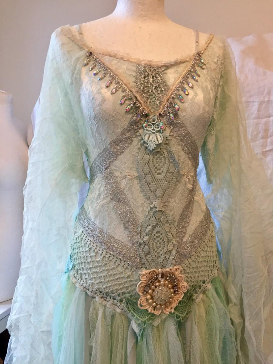 Mariage - Wedding dress turqoise fairy,boho wedding dress in mint colors,statement wedding dress, princess wedding dress pastels, rawrags wedding