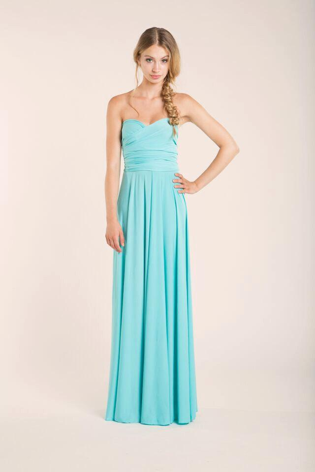 Mariage - Aquamarine floor length infinity dress, light blue, long dress, party long dress, versatile dress, blue malibu prom dress, bridesmaid dress