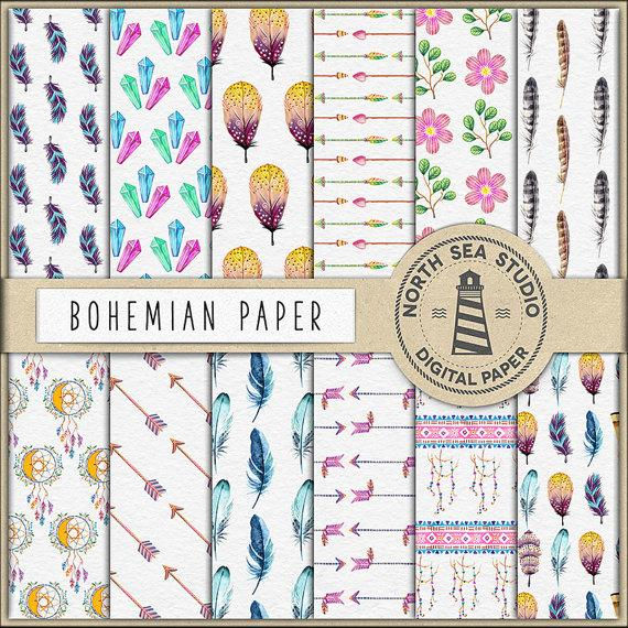 Mariage - Bohemian Digital Paper, Watercolor Bohemian Paper, Bohemian Patterns, Feathers, Beads Arrows, Ethnic Design, Boho Style, BUY5FOR8