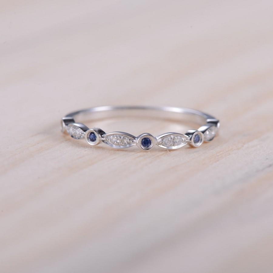 Mariage - Blue Sapphire Band Diamond Band Half Eternity Ring Sapphire White Gold Ring Diamond Wedding Band Anniversary Ring Promise Ring Bridal Set
