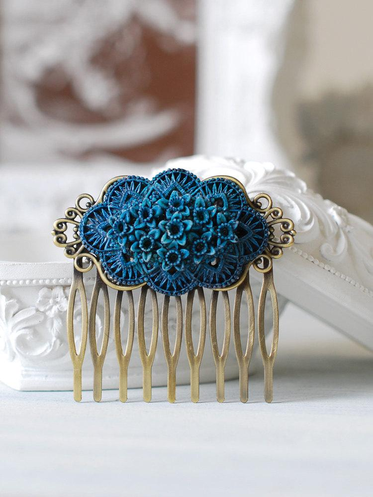Wedding - Blue Daffodil Rose Flower Hair Comb, Floral Bouquet Hair Comb, Vintage Blue Wedding Bridal Hair Comb, Shabby Chic, Goth, Gothic