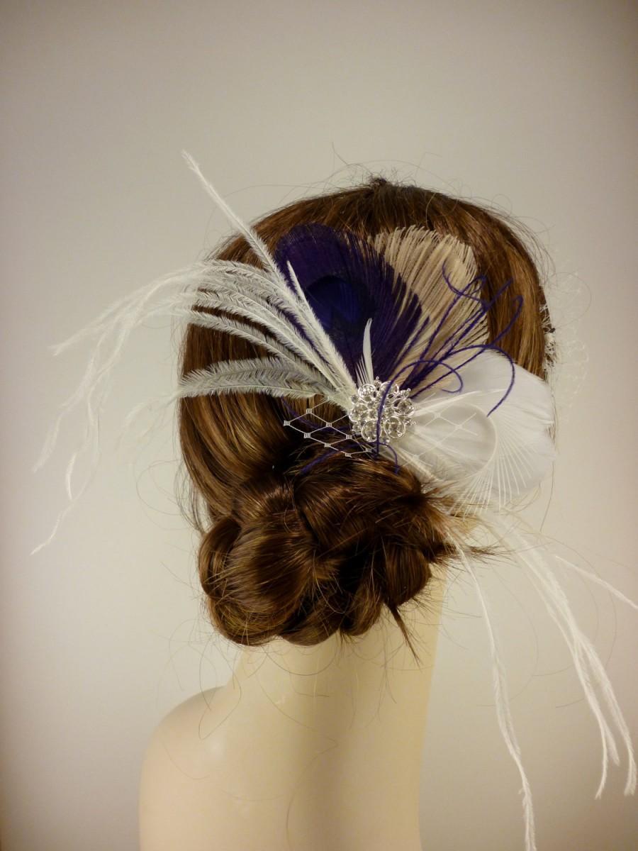 Hochzeit - Wedding Feather Fascinator, Bridal Fascinator, Feather Fascinator, Fascinator, Hair Clip, Wedding Veil, Bridal Veil