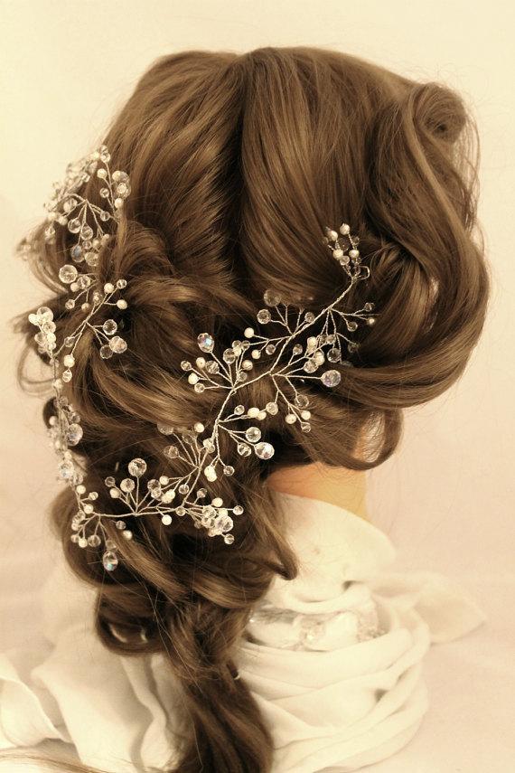 Mariage - Long Hair Vine Hair Vine bridal Crystal wreath Pearl Hair Vine bridal headband hair vine long wedding vine pearl hair Crystal long Vine